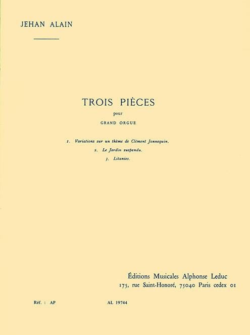 3 Pièces - Jehan Alain - Partition - Orgue - laflutedepan.com
