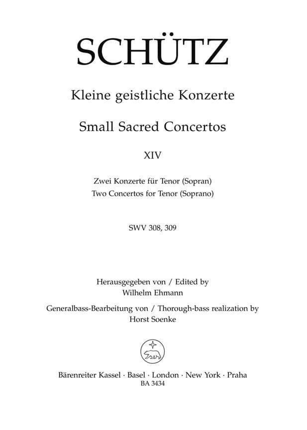 Kleine Geistliche Konzerte. Volume 14 - SCHUTZ - laflutedepan.com