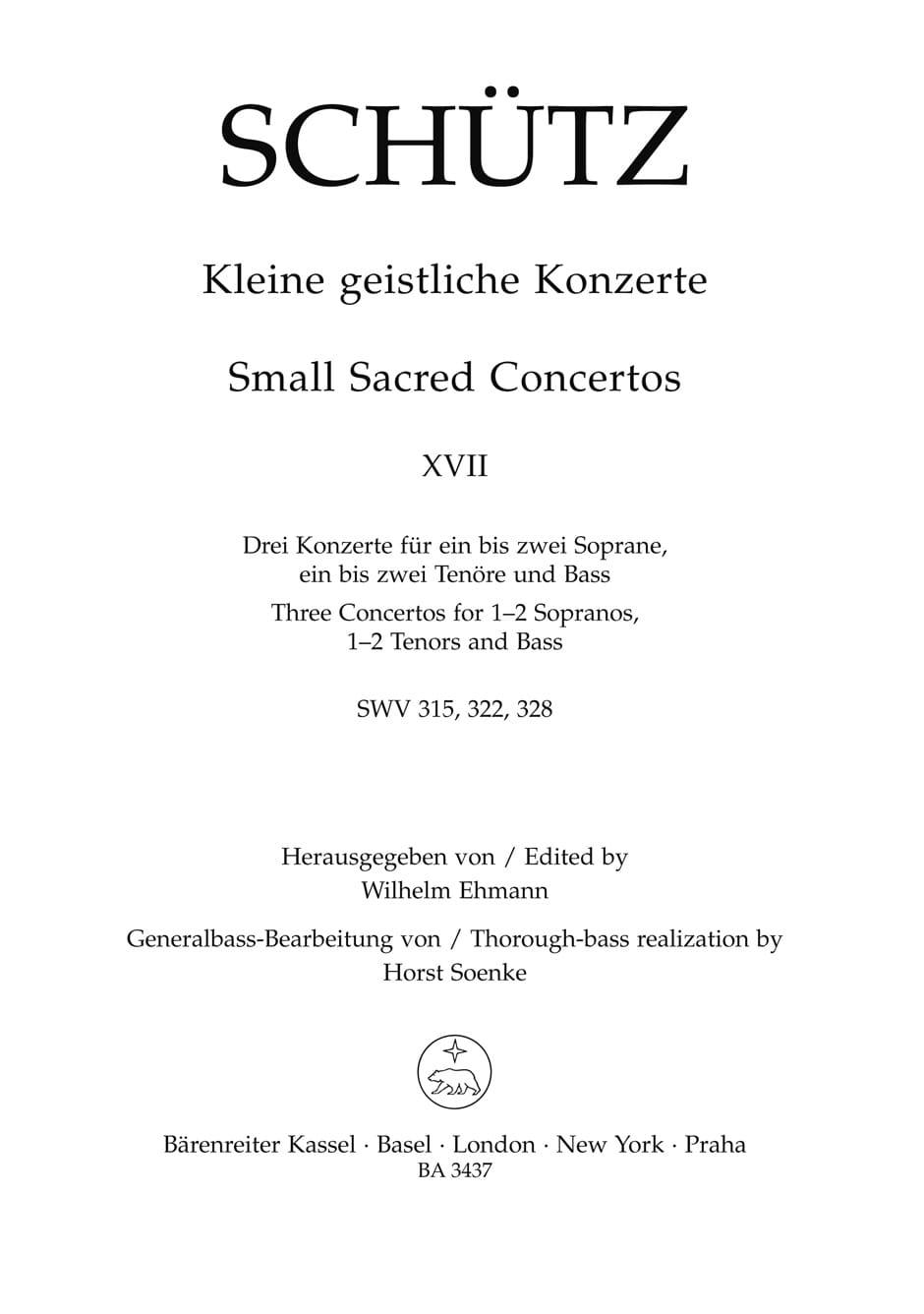 Kleine Geistliche Konzerte. Vol 17 - SCHUTZ - laflutedepan.com