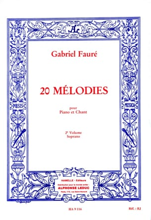 20 Mélodies Volume 2. Soprano FAURÉ Partition Mélodies - laflutedepan