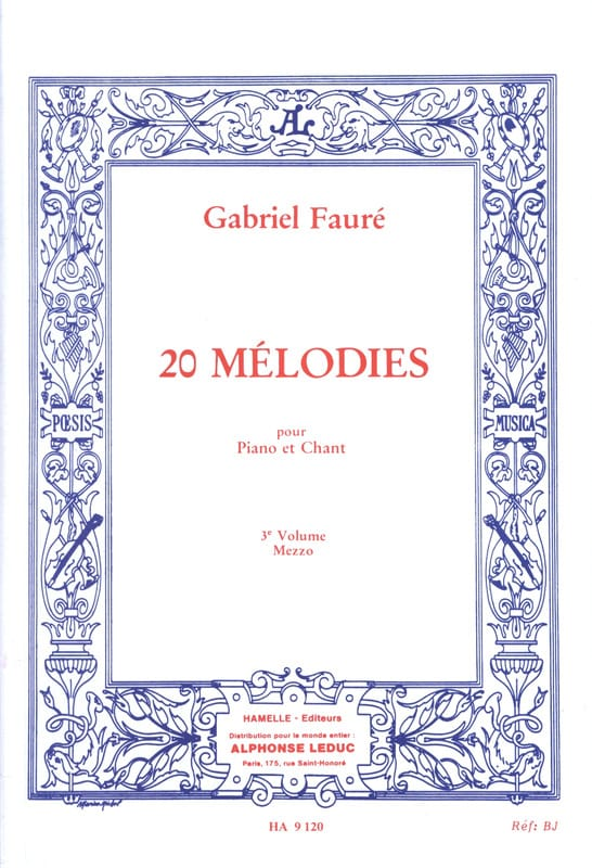 20 Mélodies Volume 3. Mezzo - FAURÉ - Partition - laflutedepan.com