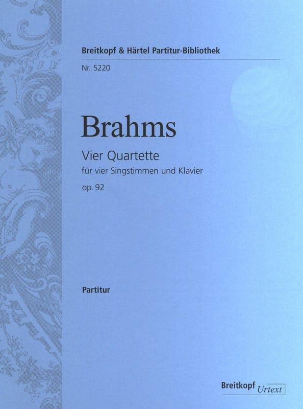 4 Quartette Opus 92 - BRAHMS - Partition - Chœur - laflutedepan.com