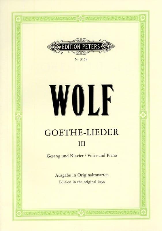 Goethe-Lieder. Volume 3 - Hugo Wolf - Partition - laflutedepan.com