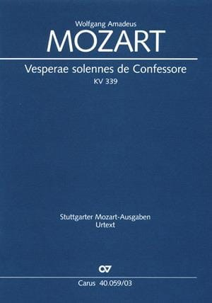 Vêpres Solennelles d'un Confesseur - K 339 - MOZART - laflutedepan.com