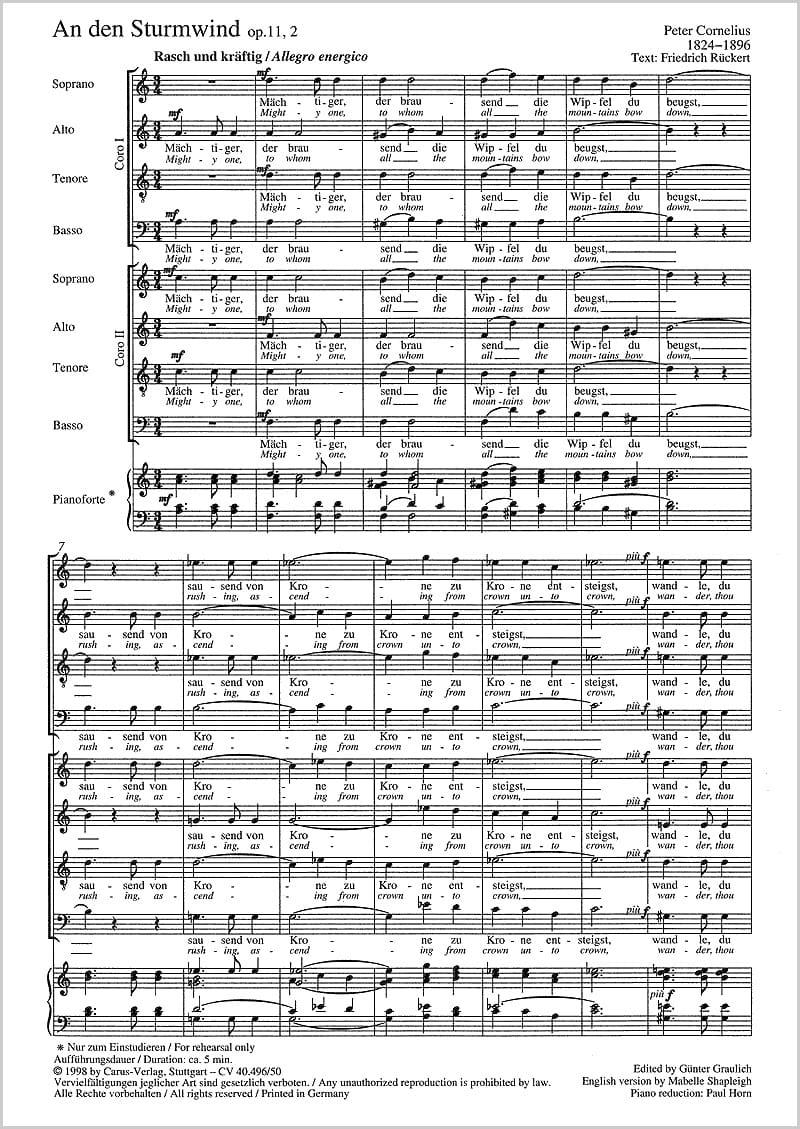 An Den Sturmwind Op. 11-2 - Peter Cornelius - laflutedepan.com