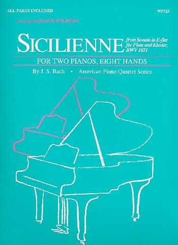 Sicilienne. 2 Pianos 8 Mains - BACH - Partition - laflutedepan.com