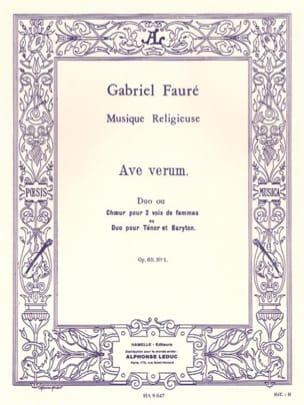 Ave Verum Opus 65-1 FAURÉ Partition Chœur - laflutedepan