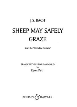 Sheep May Safely Graze BWV 208 BACH Partition Piano - laflutedepan