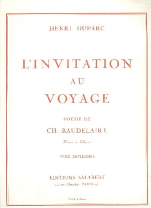 Invitation Au Voyage. Voix Moyenne Henri Duparc Partition laflutedepan