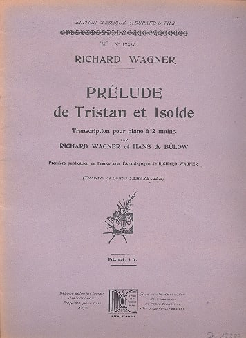 Prélude de Tristan et Isolde. Piano - WAGNER - laflutedepan.com