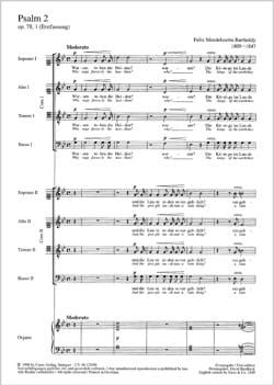 Psalm 2 Op. 78-1 - MENDELSSOHN - Partition - Chœur - laflutedepan.com