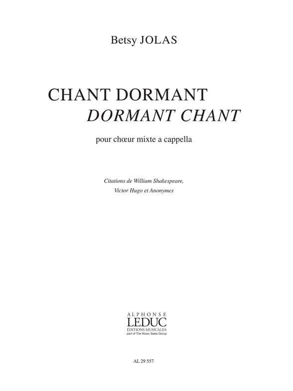 Chant Dormant Dormant Chant - Betsy Jolas - laflutedepan.com