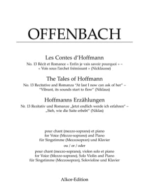 Jacques Offenbach - See beneath the quivering bow. Hoffman's Tales - Partition - di-arezzo.co.uk