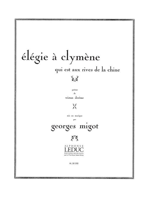 Elegie A Clymene - Georges Migot - Partition - laflutedepan.com