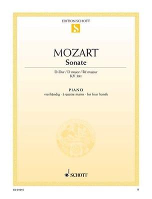 Sonate Ré Majeur KV 381. 4 Mains MOZART Partition Piano - laflutedepan