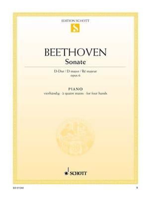 BEETHOVEN - Sonata D Major Opus 6. 4 Hands - Partition - di-arezzo.co.uk