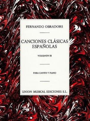 Canciones Clasicas Espanolas Volume 3 Fernando Obradors laflutedepan