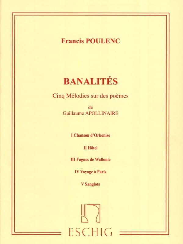 Banalités - POULENC - Partition - Mélodies - laflutedepan.com