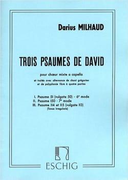 3 Psaumes de David MILHAUD Partition Chœur - laflutedepan