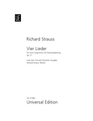 4 Lieder Opus 27 TrV 170 - Voix Moyenne - laflutedepan.com