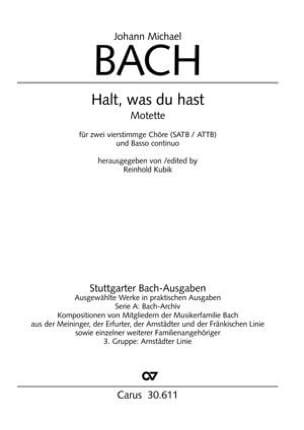 Halt, was du hast Johann Michael Bach Partition Chœur - laflutedepan