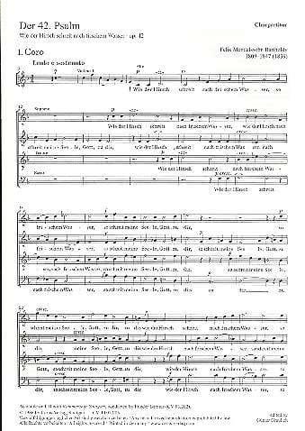 Der 42. Psalm. Wie Der Hirsch Schreit. MWV A 15. Choeur seul - laflutedepan.com