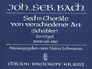 6 Schübler-Choräle BWV 645-650 BACH Partition Orgue - laflutedepan
