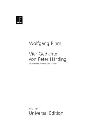 4 Gedichte Von Peter Härtling - Wolfgang Rihm - laflutedepan.com