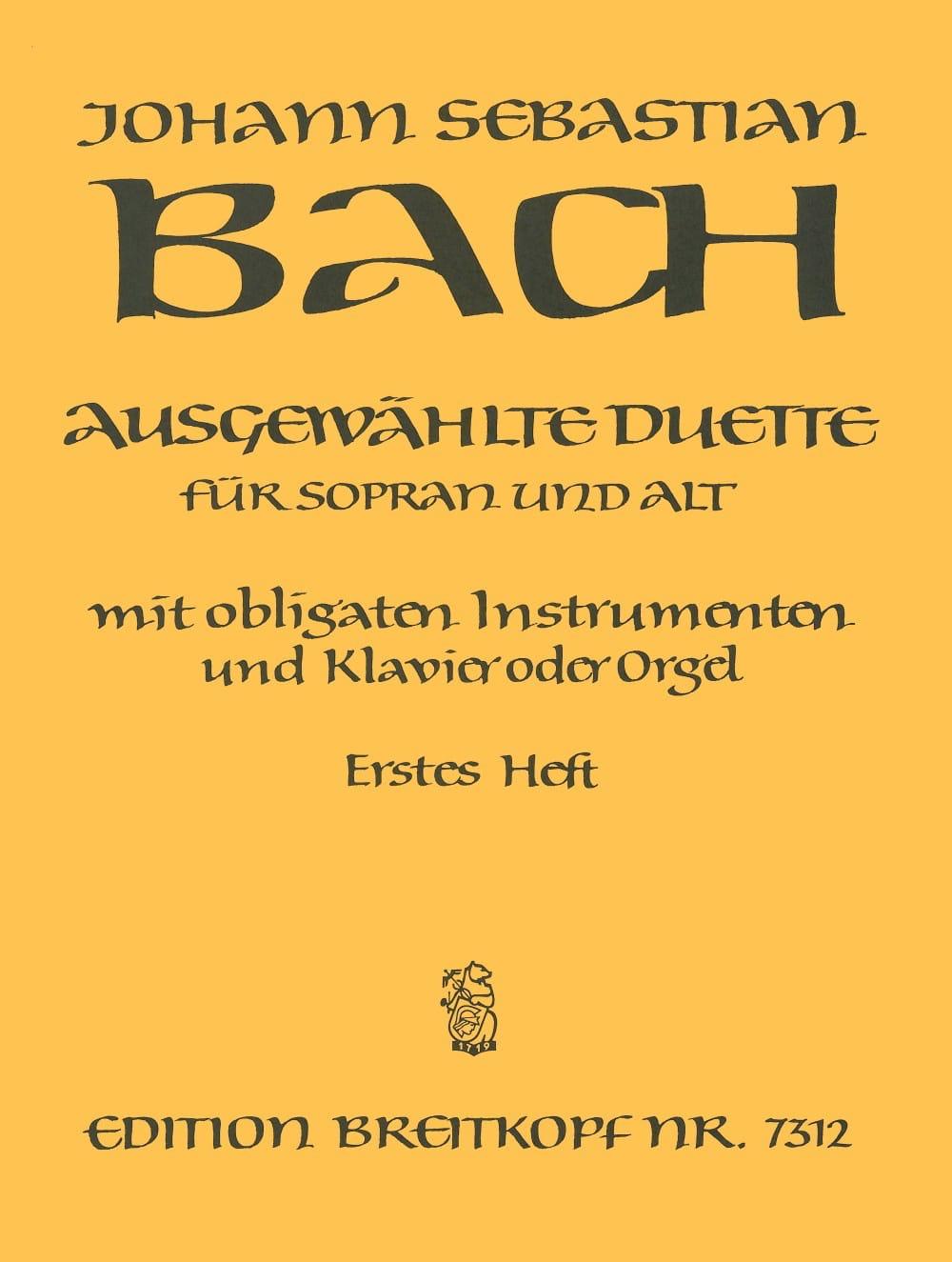 Ausgewählte Duette Sopran und Alt Volume 1 - BACH - laflutedepan.com