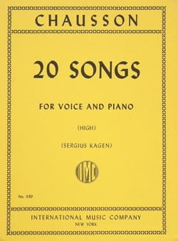 20 Songs. Voix Haute CHAUSSON Partition Mélodies - laflutedepan