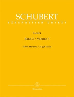 Lieder Volume 3. Voix Haute SCHUBERT Partition Mélodies - laflutedepan