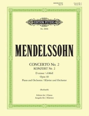 Concerto N°2 En Ré Mineur Opus 40 MENDELSSOHN Partition laflutedepan