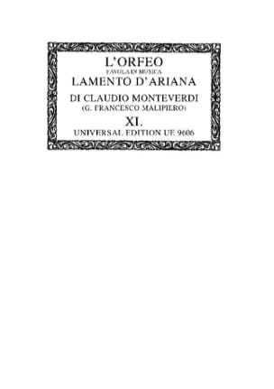 L'orfeo / Lamento D'ariana. Oc11 MONTEVERDI Partition laflutedepan