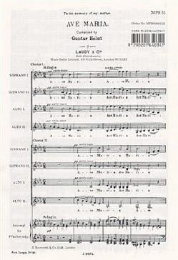 Ave Maria HOLST Partition Chœur - laflutedepan