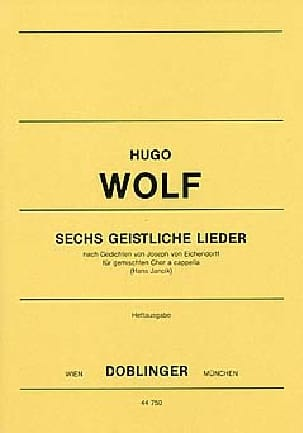 6 geistliche Lieder Hugo Wolf Partition Chœur - laflutedepan
