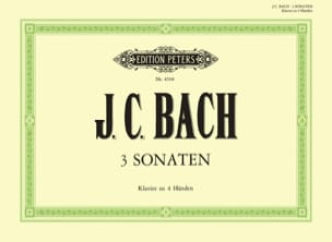 3 Sonates. 4 Mains Johann Christian Bach Partition laflutedepan
