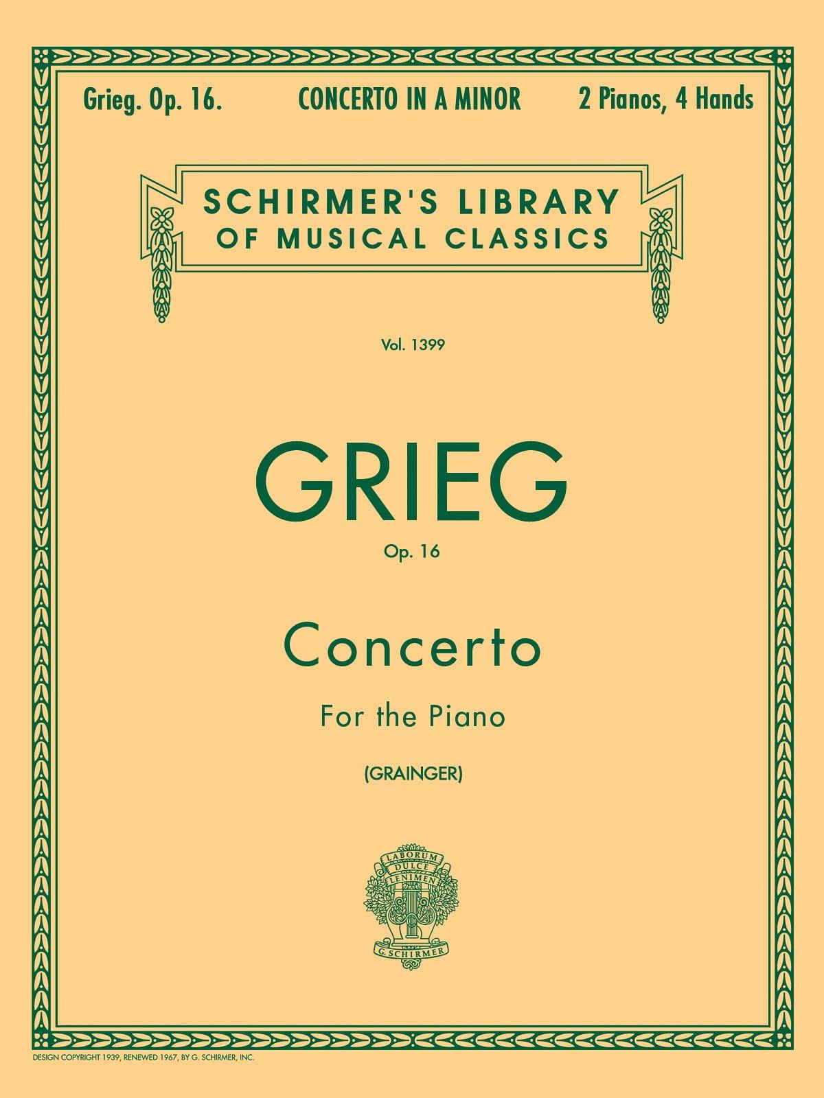 Concerto pour piano la mineur Opus 16 - GRIEG - laflutedepan.com