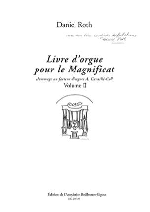 Livre d'Orgue pour le Magnificat Volume 2 Daniel Roth laflutedepan