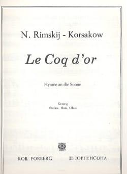 Hymne Au Soleil. Le Coq d'or RIMSKY-KORSAKOV Partition laflutedepan