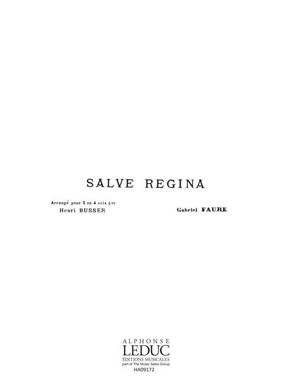 Salve Regina Opus 67-1 - FAURÉ - Partition - Chœur - laflutedepan.com