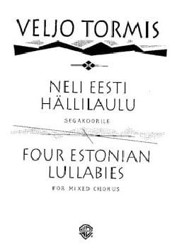 Neli Eesti Hällilaulu Veljo Tormis Partition Chœur - laflutedepan