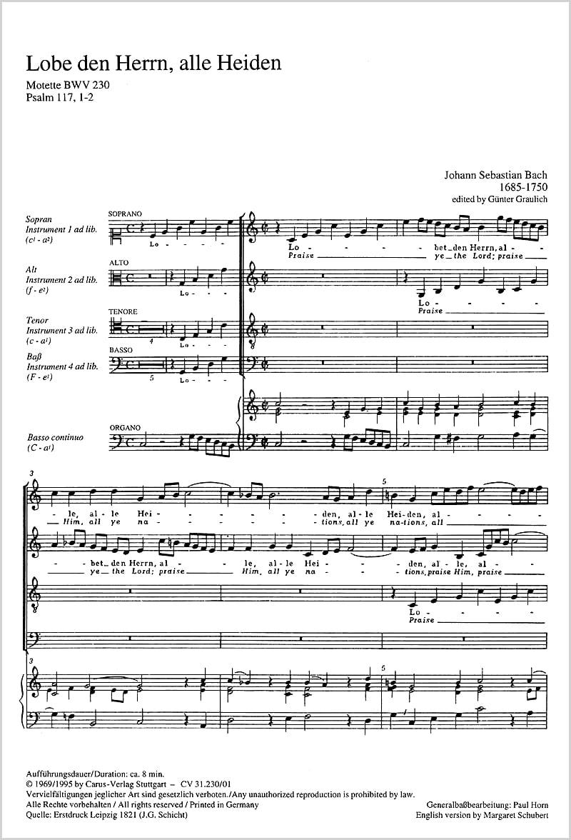 Lobet den Herrn, alle Heiden BWV 230 - laflutedepan.com