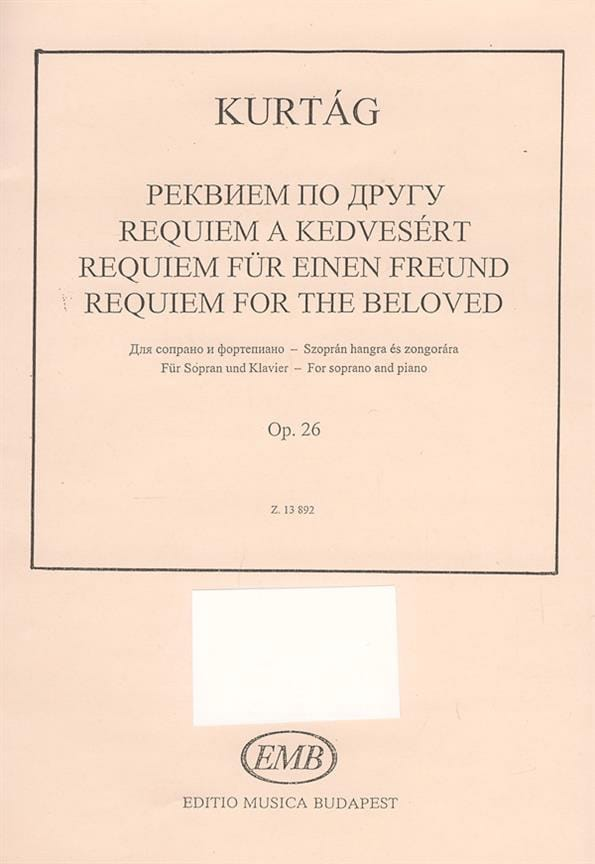 Requiem For The Beloved Opus 26 - KURTAG - laflutedepan.com