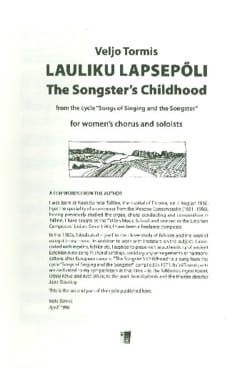 Lauliku Lapsepoli Veljo Tormis Partition Chœur - laflutedepan