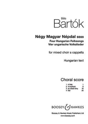 Négy Magyar Népdal BB99 BARTOK Partition Chœur - laflutedepan