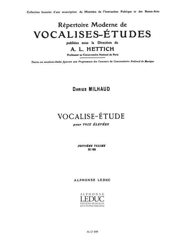 Vocalise Etude - MILHAUD - Partition - Mélodies - laflutedepan.com