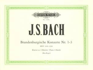 Concertos Brandebourgeois 1-3. 4 Mains BACH Partition laflutedepan