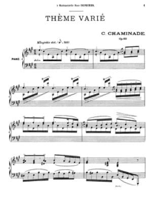 Thème Varié Opus 89 - Cécile Chaminade - Partition - laflutedepan.com