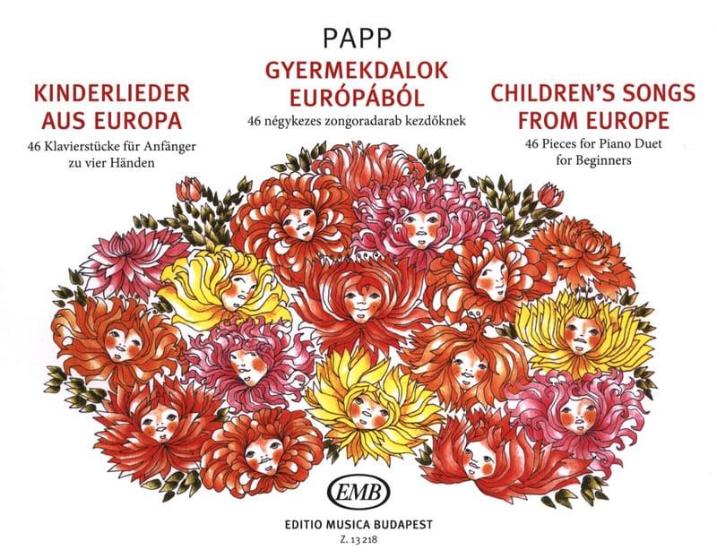 Children's Songs From Europe. 4 Mains - Lajos Papp - laflutedepan.com