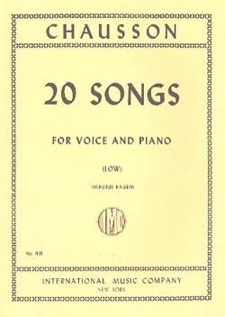 20 Songs. Voix Grave CHAUSSON Partition Mélodies - laflutedepan
